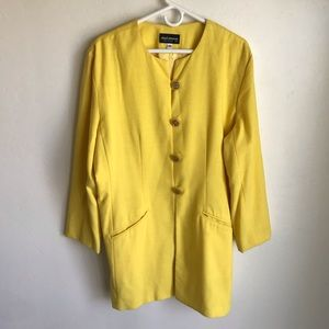Chad Stevens Yellow Suit Long Jacket Skirt Size 18